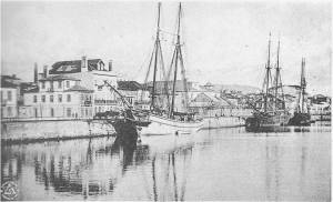 Two-masted sailboat in the old commercial harbor